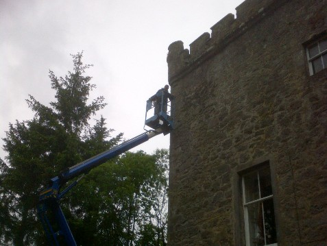 Re-Pointing Historic Castle ,Turrets,High Reach Boom,cherry picker
